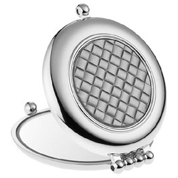 Giorgio Janeke 24K金與鉻銀系列-菱格紋晶燦銀圓形隨身鏡(銀)
