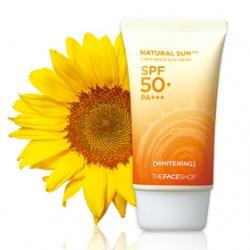 THE FACE SHOP 菲詩小舖 防曬‧隔離-艷陽女神-極致靚白防曬霜SPF50+ PA+++ NATURAL SUN AQ Super White Sun Cream SPF50+ PA+++