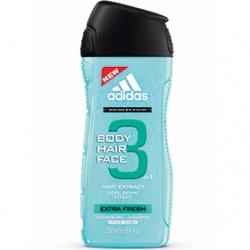 adidas 愛迪達 男仕沐浴清潔-男用三效清爽潔顏洗髮沐浴露 Extra Fresh 3 in 1 Shower Gel