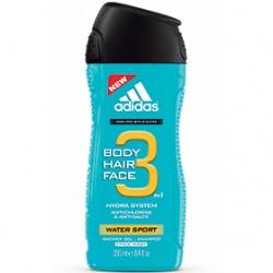 adidas 愛迪達 男仕沐浴清潔-男用三效勁涼潔顏洗髮沐浴露 Water Sport 3 in 1 Shower Gel